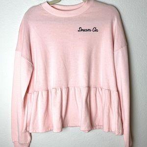 Planet Gold Dream On Peplum Pink Sweatshirt M